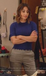 blue-short-sleeve-knitted-sweater